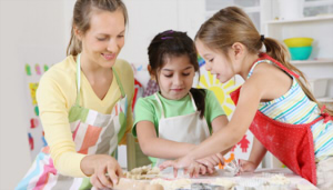 """baking with the kids"""