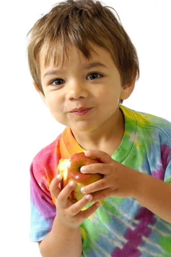 """child eating apple"""